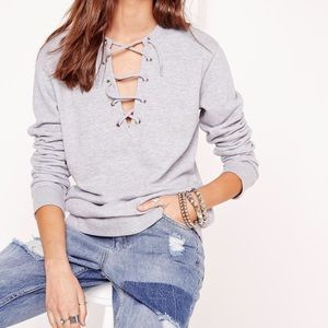 Missguided Lace Up Sweatshirt